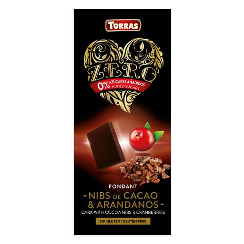 Chocolate Negro Con Nibs De Cacao Y Arándanos Zero Torras